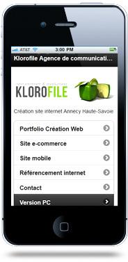 Création site mobile agence Klorofile